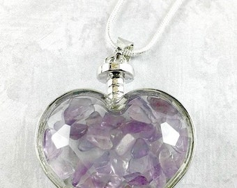 Amethyst Heart Necklace, Valentines Day Gift, Amethyst Chips Necklace, Amethyst Jewelry, Gemstone Necklace, Gemstone Jewelry, Silver Jewelry