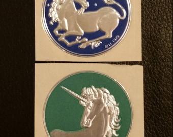 Vintage embossed stickers, vintage unicorn stickers, embossed unicorn sticker