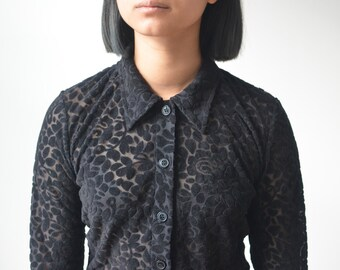 BLACK LACE BLOUSE -shirt, floral, cyber, gothic, grunge, witch, hippie, 90s, clueless, sexy, transparent, cute, long sleeve-