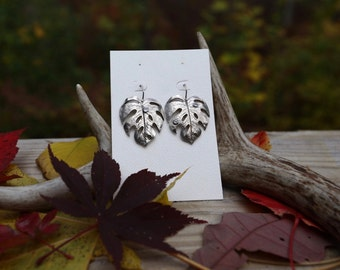 Large Single Palm Leaf Earring with Cubic Zirconia