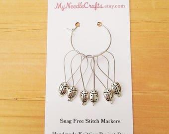 Knitting Stitch Markers, Snag Free, Snagless Beaded Knitting Stitch Markers, Set of 6 silver plated Lady Bug stitch markers