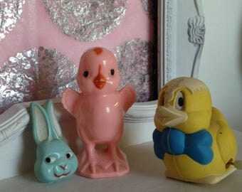 Vintage Plastic Easter Toys, Pink Plastic Easter Chick Candy Container, plastic Easter wind Up Duck, Plastic Easter Rabbit Pin