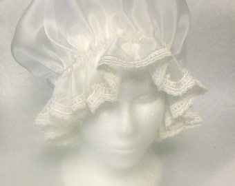 Off-White Sheer Sparkle Organza Mop/ Mob Cap, Grannie Hat, Martha Washington Cap with Off-White Scalloped Lace Edging, Elastic Casing