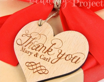 Custom Heart Thank You Tags, Engraved Thank You Tags, Wooden Thank You Tags, Rustic Wood Thank You Tags, Wedding Favors, Wedding Wood Tags