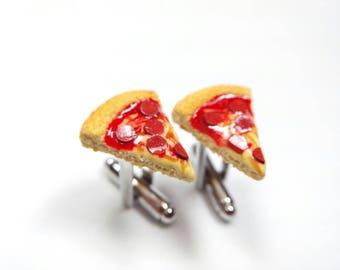 Pizza Cufflinks, Pepperoni Pizza Cufflinks, Men's Jewelry, Men's Cufflinks, Food Cufflinks, Men's Accessories, Handmade Polymer Clay Food