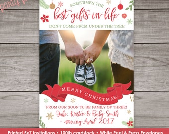 Christmas Pregnancy Announcement Cards - Printed 5x7 Cards with Envelopes - Printed Pregnancy Announcement -  Pregnancy 102