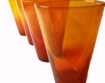 SALE....WASN 18.00....Sunburst Orange Diffused Bubble Tumblers