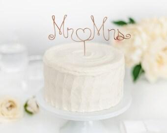 Mr and Mrs Topper -  Wedding cake topper - Custom Cake Topper - Gay Wedding - Wire cake topper - Rustic Wedding - Cake topper - Blue Brides