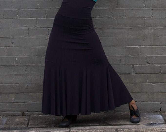 Aubergine FISHTAIL Flamenco skirt