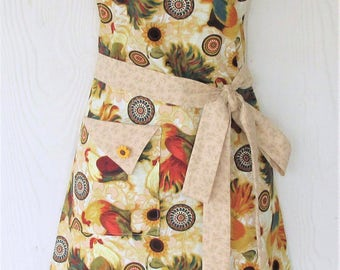 Rooster Apron, Sunflowers, Retro Full Apron, Chickens, Americana, Country Kitchen, KitschNStyle