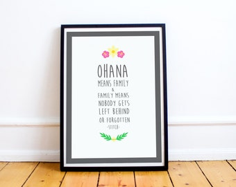 Ohana Means Family - Stitch Quote Print -  Typography Art Print - Lilo and Stitch  - Typography Poster - Disney Quote