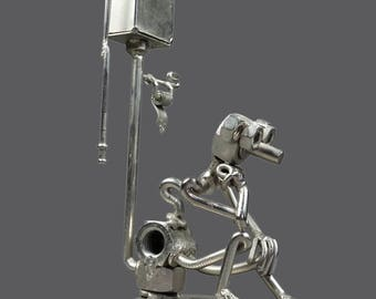 Vintage Nuts & Bolts Steel Sculpture Person On Toilet WC Scrap Metal Outsider Art Signed