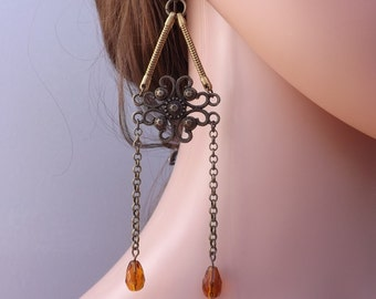 Dangle earrings, long earrings, drop earrings, fancy earrings, niobium ear wires,