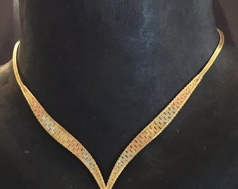 14K Tri Color Flat Weave V Shaped Necklace Yellow, White and Rose Gold