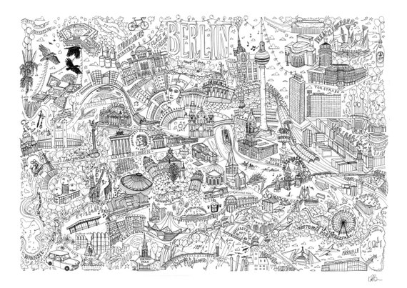 Berlin Illustrated Map Drawing, Berlin, Germany