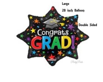 large graduation balloon,  Congrats Grad, multicolor grad party decorations, Class of 2018, graduates, stars, black cap, tassel, unisex