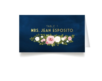 The FRANKIE . Escort Tent Cards Printed and Folded . Gold & Navy Blue Chalkboard Blush White Roses . Name Cards Seating Wedding Place Card