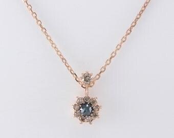 Champagne Diamond Necklace, Blue Diamond Necklace, Gold Simple Diamond Necklace, Minimalist Necklace, Geometric Necklace