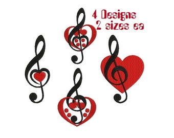 4 designs: Treble Clef Bass Clef with heart music embroidery patterns Machine embroidery design Pack Digital Download