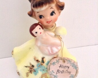Vintage Lefton Happy Birthday Figurine With Doll