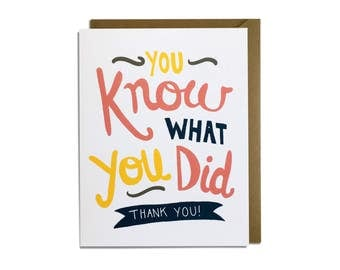 Funny Thank You Card -  Sarcastic, Thanks, Friend, Casual