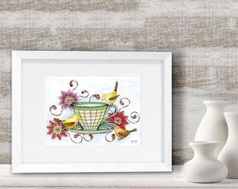 Three little birds and teacup art print. Cute Kitchen wall art with a touch of cottage chic.