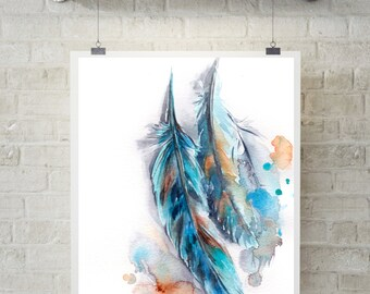 Feathers Fine Art Print, Turquoise Feathers watercolor print, feathers wall art print, modern art print
