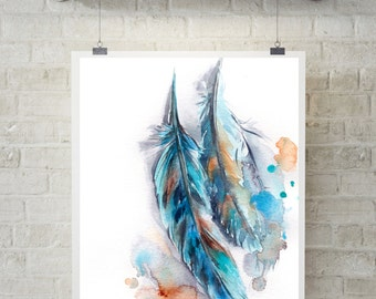 Feathers Wall Art Print, Turquoise Feathers Watercolor Painting Print, Wall Art