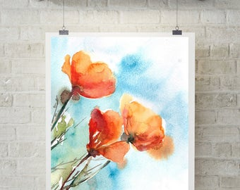 Orange Poppies Art Print, Watercolor Painting Print of Poppies, Floral Painting Wall Art, Orange Blue Wall Art