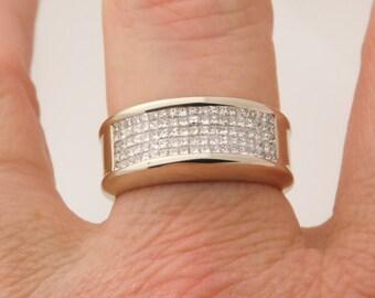 Beautiful 1.50 Carat T.W. Man's Princess Diamond Wedding Band 14K Gold