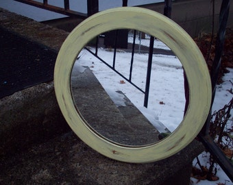 Yellow Mirror, Rustic Round Wooden wall mirror hand painted pale yellow, Shabby cottage bedroom bathroom Mirror, Nursery decor