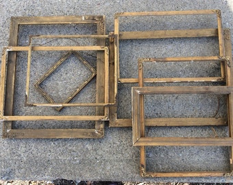 Antique frame set of 8, Rustic Open gallery salvaged primitive frames, Chippy Gold gilt, Vintage Wedding decor Shabby cottage Photo prop
