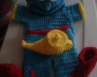 Crochet Genie baby costume. genie. inspired by Aladdin. Newborn photo prop. baby cosplay