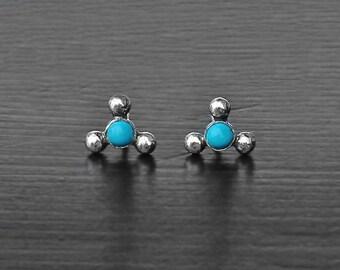 Sleeping beauty turquoise earstuds, triangle earrings, turquoise earrings, 3 mm studs, 7 mm studs, 925 turquoise earpost, ball earposts cute