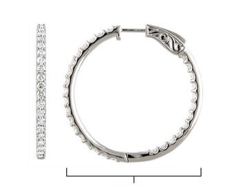 3.00 Carats Inside Outside Simulated Diamond Hoop Earrings with secure lock in 925 Sterling Silver