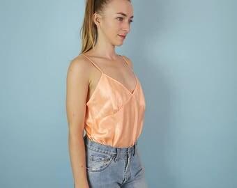 Pretty Peach Satin 90s Camisole