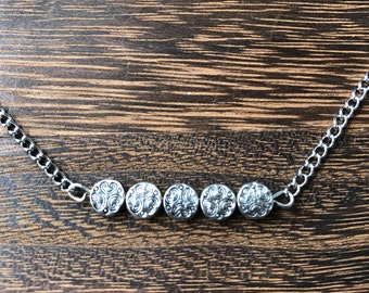 Silver Choker on a Silver Chain with Etched Metal Beads