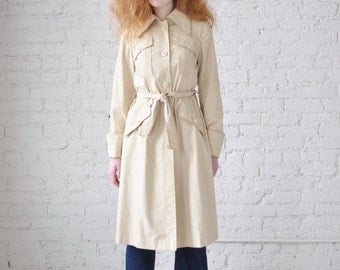 Kira coat • vintage 1970s trench coat • 70s tan cotton blend jacket
