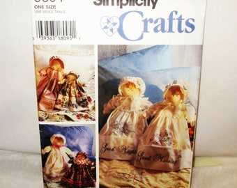 """SIMPLICITY CRAFTS #9604 20"""" & 14"""" Cloth DOLLS, Clothes, Bonnet, Wax Transfers for Embroidery on Large Dolls Pillowcase Bed Sitter Lace Gift"""