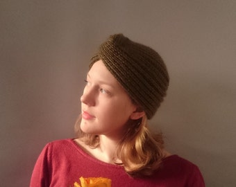 Winter Turban hat 1940s style knitted turban green lambs wool and mohair 1940s diva