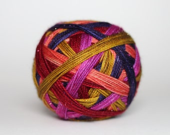 "Dyed to Order: ""Amortentia (5 color self-striping)"" -  Orchid Purple, Peach, Gold, Red, Dark Purple Stripes"
