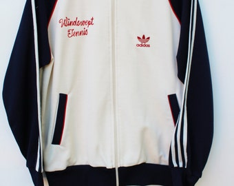 80s Adidas Tennis Jacket / Men's LARGE L / Trefoil Classics Striped / Cream Off-White & Navy, Red / Windswept Tennis / FREE SHIPPING!
