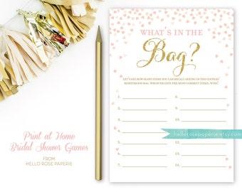 What's in the Bag Bridal Shower Game . Bridal Shower Printable . Instant Download . Pink and Gold Bridal Shower Games . Digital File