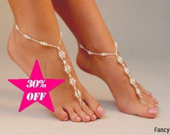 Beaded Barefoot Sandals, Barefoot sandals, Beach wedding Barefoot Sandal, Pearl Barefoot shoes, Women Barefoot Sandals, footless sandal