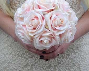 PINK BLUSH BRIDESMAID Bouquet. Pink Blush Bouquet With Rustic Jute Rope Wrapped Handle. Pink Blush Silk Garden Roses. Custom Made To Order.