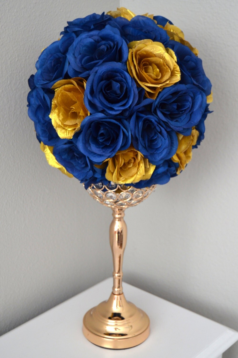Navy blue gold flower ball wedding centerpiece