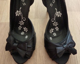 Satin Peeptoes Pumps Shoes for Women black Bow 41