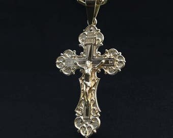 Luxury golden pendant cross orthodox cross pendant gold necklace cross