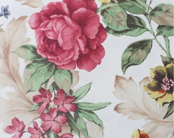 Floral Upholstery Fabric, Roses Furnishing Fabric, Vintage Style Durable Non-fade Drapery Fabric, Red Yellow, 1/2 Yard/Metre, DB-330
