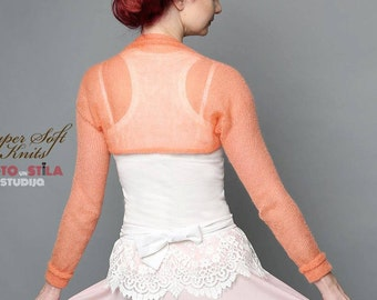 Bridesmaids Cover Up Knitted Bolero peach  Wedding Shrug Bridal bolero jacket Wedding accessories Evening jacket Bridal Cape Bridesmaid Gift